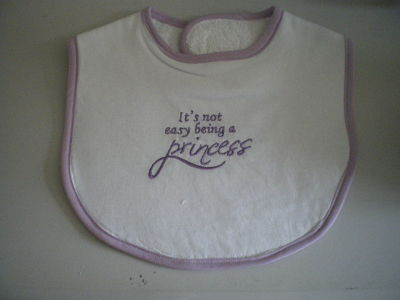 LOVELY HANDMADE IT'S NOT EASY BEING A PRINCESS BABY BIB LILAC