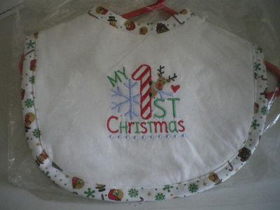 LOVELY HANDMADE MY 1ST CHRISTMAS BIB