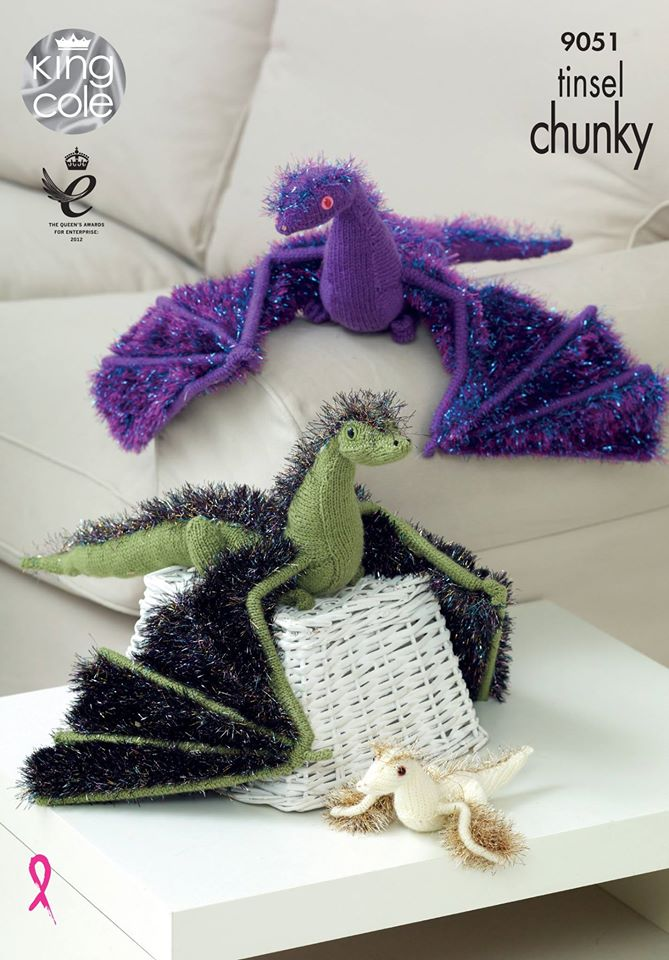 NEW KING COLE TINSEL CHUNKY KNITTING PATTERN DRAGON 9051