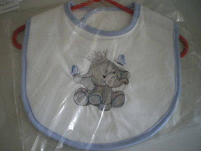 HANDMADE ELEPHANT BABY BIB (BLUE)