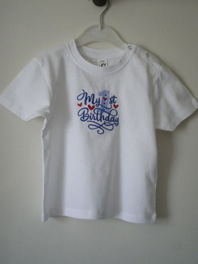 MY 1ST BIRTHDAY MACHINE EMBROIDERED T-SHIRT - 12/18 MONTHS