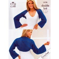 KING COLE CROCHET BOXY CARDIGAN AND SHRUG PATTERN 3178