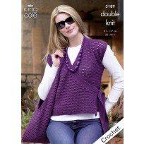 KING COLE CROCHET TUNIC,SHOULDER BAG AND WRAP OVER CARDIGAN PATTERN 3189
