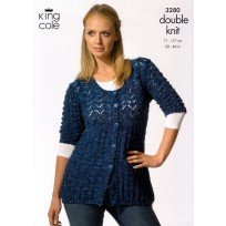 KING COLE MOODS DK CARDIGAN KNITTING PATTERN 3280