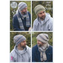 NEW OUT KING COLE DRIFTER CHUNKY KNITTING PATTERN 4608