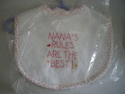 LOVELY HANDMADE NANNA'S RULES BABY BIB