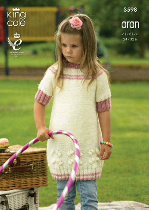 KING COLE GIRLS ARAN JUMPER DRESS KNITITNG PATTERN 3598