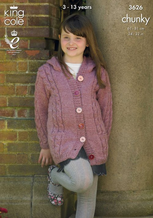 KING COLE CHILDRENS CHUNKY KNITTING PATTERN (3626)