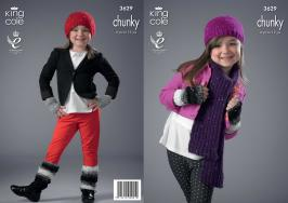 KING COLE GALAXY CHUNKY CHILDS KNITTING PATTERN 3629