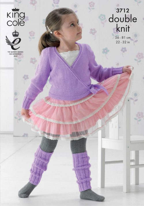 KING COLE BALLET CARDIGAN AND LEG WARMERS KNITTING PATTERN 3712