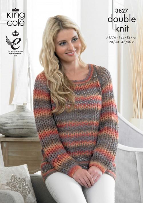 King Cole Ladies Country Tweed Dk Knitting Pattern 3827