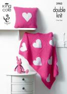 KING COLE HEART BLANKET AND CUSHION PATTERN DK 3982