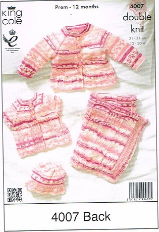 KING COLE CHERISH DK KNITTING PATTERN 4007