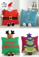 KING COLE CHRISTMAS CUSHIONS KNITTING PATTERN 4111