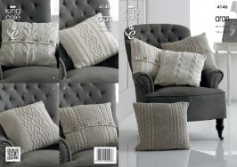 NEW OUT KING COLE ARAN CUSHION COVER PATTERN 4146