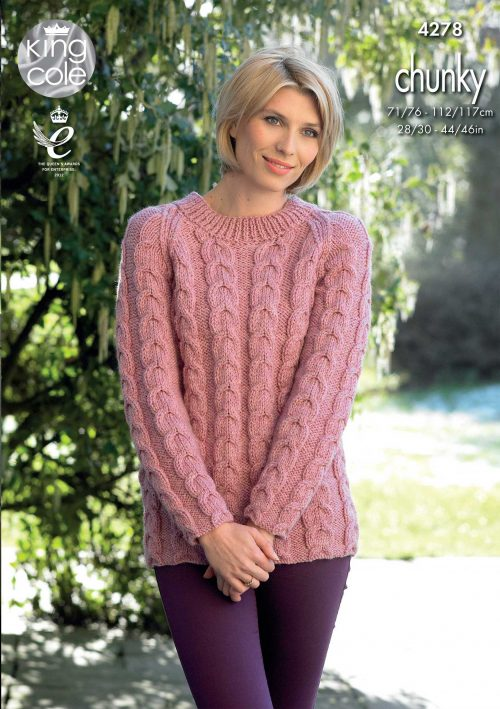 KING COLE LADIES CHUNKY KNITTING PATTERN (4278)