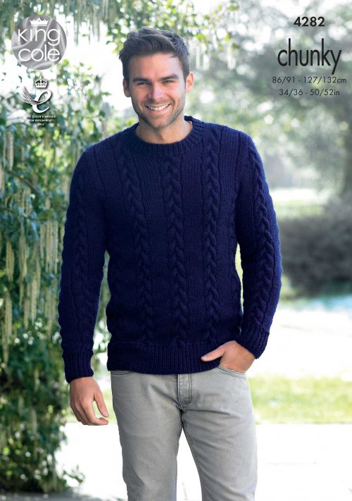 KING COLE MENS CHUNKY JUMPER KNITTING PATTERN (4282
