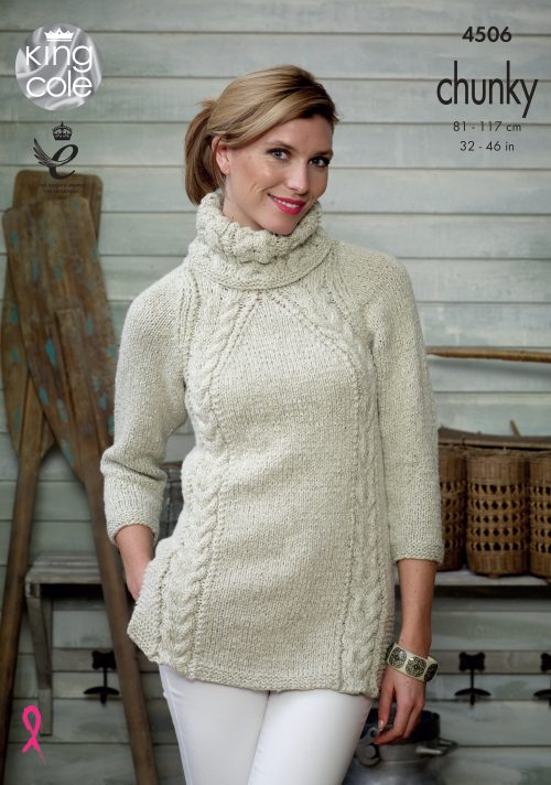 KING COLE LADIES AUTHENTIC CHUNKY KNITTING PATTERN (4506)