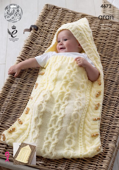 NEW OUT KING COLE ARAN BABY SLEEPING BAG KNITTING PATTERN 4672