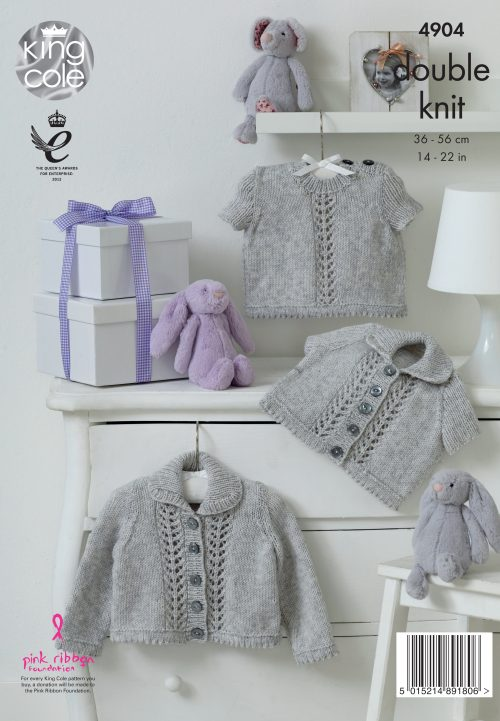 KING COLE BABY PURE KNITITNG PATTERN (4904)