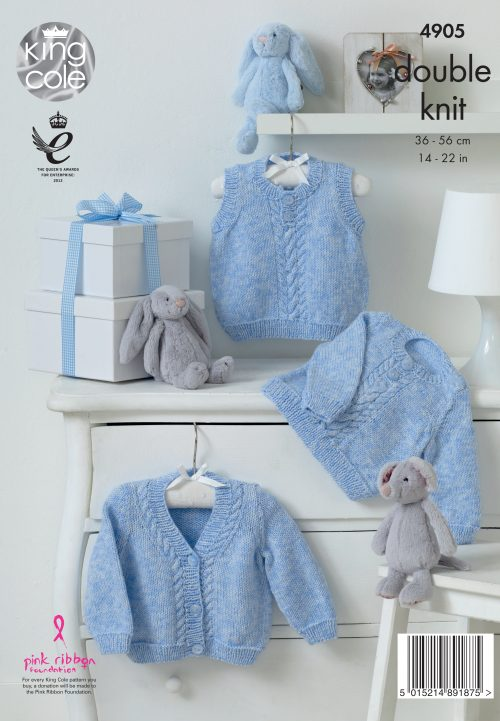 KING COLE BABY PURE KNITITNG PATTERN (4905)
