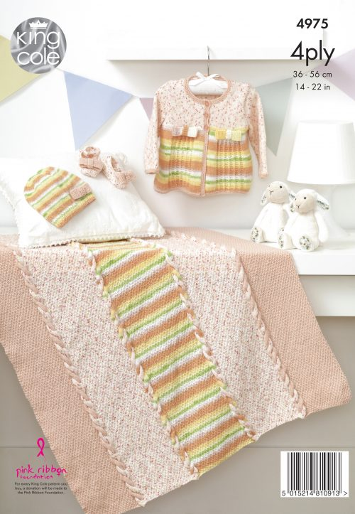 KING COLE BABY 4PLY KNITTING PATTERN (4975)