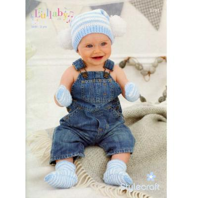 STYLECRAFT LULLABY DK HAT,MITTENS AND BOOTIES KNITTING PATTERN 8794