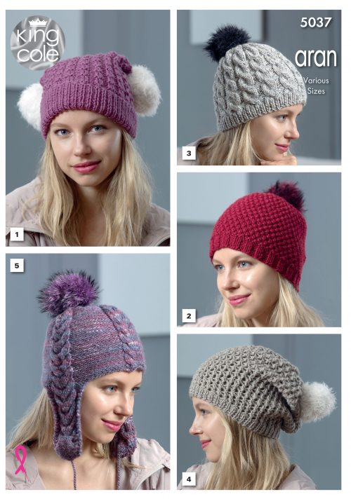 NEW OUT KING COLE LADIES ARAN HATS KNITTING PATTERN (5037)