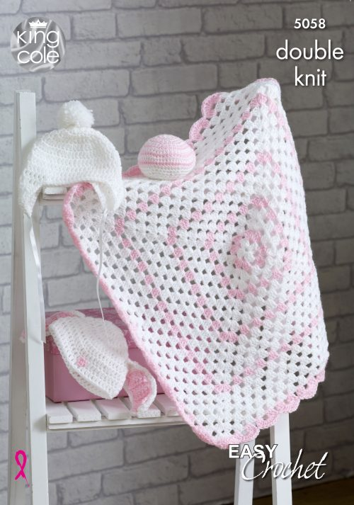 NEW OUT KING COLE GRANNY SQUARE BABY BLANKET CROCHET PATTERN (5058)