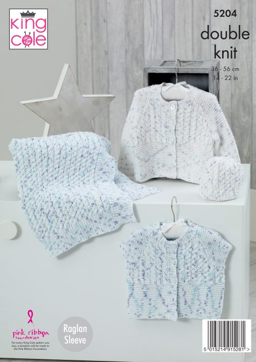 KING COLE BABIES CARDIGAN,HAT AND BLANKET COTTONSOFT DK KNITTING PATTERN (5204)