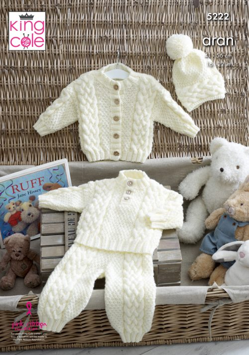 NEW OUT KING COLE ARAN BABY PATTERN (5222)