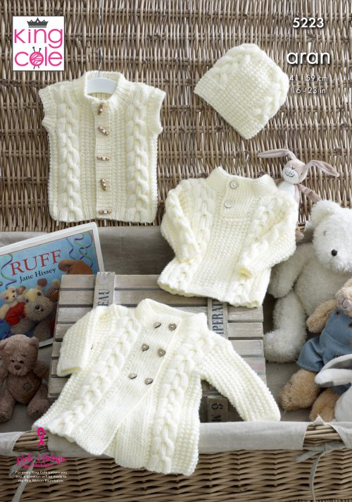 NEW OUT KING COLE ARAN BABY PATTERN (5223)