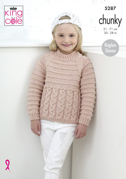 KING COLE GIRLS CHUNKY CARDIGAN AND JUMPER KNITTING PATTERN (5287)