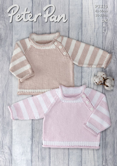 PETER PAN BABIES JUMPER KNITTING PATTERN (P1310)