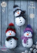 NEW OUT KING COLE TINSEL CHUNKY SNOWMAN PATTERN9030