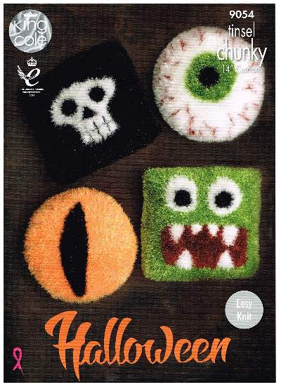 NEW KING COLE TINSEL CHUNKY HALLOWEEN CUSHION KNITTING PATTERN 9054