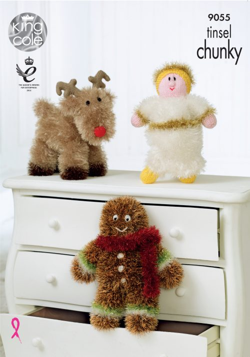 NEW KING COLE TINSEL CHUNKY CHRISTMAS KNITTING PATTERN 9055