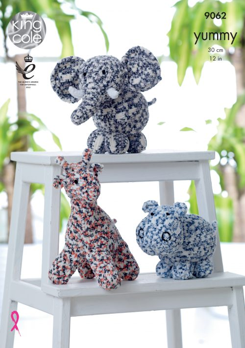 KING COLE YUMMY ELEPHANT,HIPPO,GIRAFFE KNITTING PATTERN (9062)
