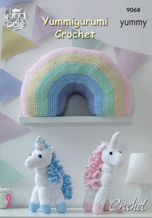 KING COLE YUMMY CROCHET UNICORN AND RAINBOW PATTERN (9068)