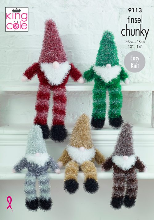 NEW OUT KING COLE GNOMES TINSEL KNITTING PATTERN (9113)