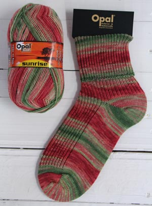 OPAL 4PLY SOCK WOOL SUNRISE 100 GRAM BALL FIRE RED SUN (9442)