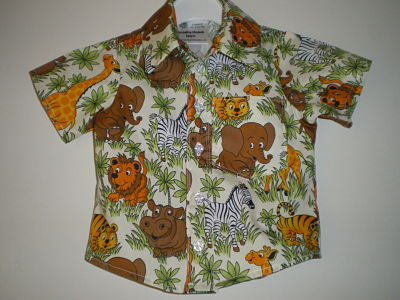 LOVELY BOYS HANDMADE ANIMAL SHIRT 6/9 MONTHS
