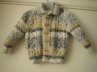 LOVELY BOYS HAND KNITTED ARAN CARDIGAN 3-6 MONTHS