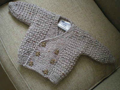 LOVELY BOYS HAND KNITTED DOUBLE BREASTED CARDIGAN 0-3 MONTHS