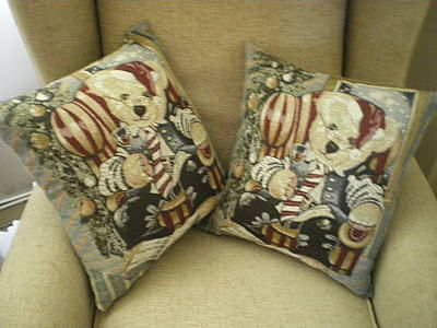 2 X CHRISTMAS BEAR CUSHIONS WITH INSERTS