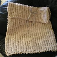 BEAUTIFUL UNISEX BEIGE PRAM POMPOM BLANKET