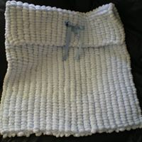 BEAUTIFUL BABY BOYS PLAIN BLUE PRAM POMPOM BLANKET