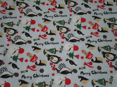 CHRISTMAS PENGUIN POLY COTTON FABRIC - 44 INCHES WIDE - PRICE PER METER