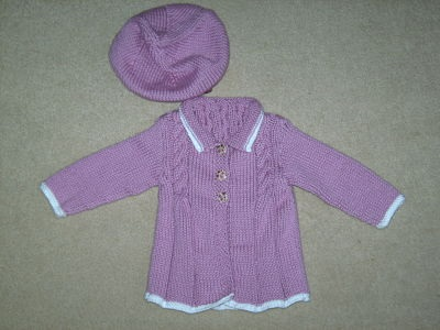 LOVELY GIRLS DUSKY PINK AND WHITE EDGE COAT AND BERET SET 0-3 MONTHS