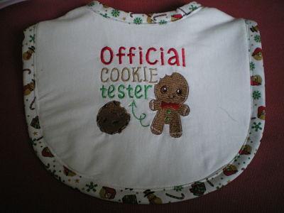 LOVELY HANDMADE BABIES BIB OFFICAL COOKIE TESTER